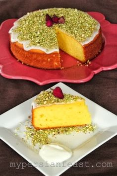My Persian Feast: Saffron Yoghurt Cake (rose water recipes) Just Desserts, Delicious Desserts, Dessert Recipes, Yummy Food, Iranian Cuisine, Iranian Food, Persian Desserts, Persian Recipes, Saffron Cake