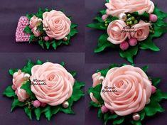 МК розы из атласной ленты , роза Юлия, rose of satin ribbon
