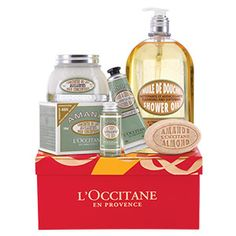Indulge and pamper this holiday season with L'Occitanes delicious Almond gift set. Featuring the mouthwatering scents and textures of the popular Almond Co