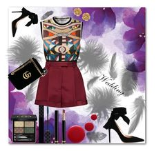 """""""wedding"""" by cokka1 ❤ liked on Polyvore featuring Givenchy, Valentino, Gianvito Rossi, Gucci, Miriam Haskell, Oribe, wedding, gucci and blackandred"""