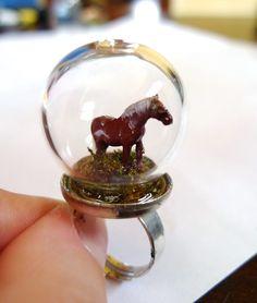 Horse Ring. Miniature Grass Animal Snow Globe Pyrex Farm Moss Organic Forest Woodland