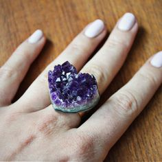 Amethyst Heart Ring now featured on Fab. specifically designed for bar fights!!