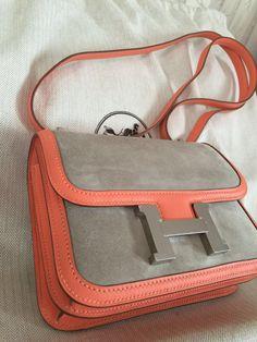 Hermes leather & suede Constance handbag.