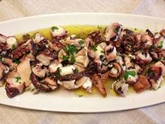 Very soft octopus salad by Laura Ravaioli Finger Food Appetizers, Appetizer Recipes, Dinner Recipes, Fish Recipes, Seafood Recipes, Cooking Recipes, Octopus Salad, Italian Street Food, Cooking Eggplant