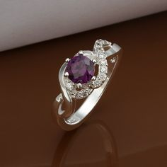 4.21$  Watch now - http://ditmt.justgood.pw/go.php?t=110406401 - Faux Amethyst Silver Plated Ring