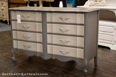 Southern Revivals | French Provincial Chalk Painted Gray Dresser Redo~~ or lavender & dark purple