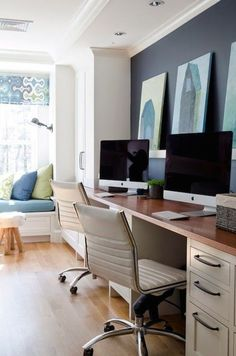 Here are ideas for making a practical home office desk that support double desk at your home office. Let's check at our Double Desk Home Office Design Ideas. Home Office Space, Home Office Design, Home Office Decor, House Design, Home Decor, Office Ideas, Design Design, Graphic Design, Navy Accent Walls
