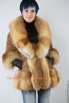 Handmade Stylish suede jacket with fox fur for ladies