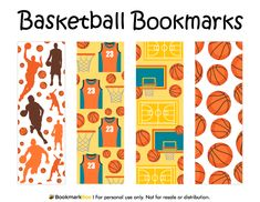 Free printable basketball bookmarks. Download the PDF template at http://bookmarkbee.com/bookmark/basketball/