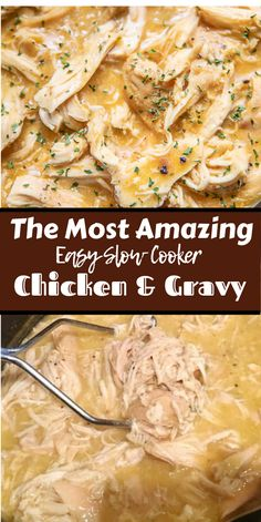 Slow Cooker Chicken & Gravy - only 3 ingredients! Such a great weeknight meal! Just dump everything in the crock pot and let it work its magic! Serve over hot steamed rice with some green beans. SO easy and kid-friendly too! Slow Cooker Chicken Rice, Crockpot Chicken And Gravy, Cooked Chicken, Butter Chicken, Cream Of Chicken Soup, Keto Cookies, Slow Cooking, Cooker Recipes, Crockpot Recipes