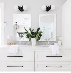 Beautiful master bathroom decor some ideas. Modern Farmhouse, Rustic Modern, Classic, light and airy bathroom design suggestions. Bathroom makeover a few ideas and master bathroom renovation tips. Bad Inspiration, Bathroom Inspiration, Bathroom Ideas, Bathroom Organization, Bathroom Vanities, Mirror Bathroom, Bathroom Designs, White Vanity Bathroom, Remodel Bathroom