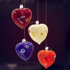Add an inspiring and creative twist to your #Christmas tree decorations with these mouth blown Heart Baubles