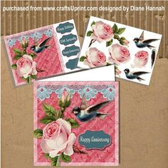 Roses, Bird and Lace 8x8 Mini Kit, is the same image as Roses, Bird and Lace 8x8. This kit contains the main image and the decoupage sheet. If you like layered card making this kit will save you time and money. Don't waste ink printing the single sheet over and over when you can have all of the elements you need with the kit. This card is stunning with all of the layers! It is easily re-sized to suit your taste. Mount on your card blank and add your layers and embellishments. This card is...