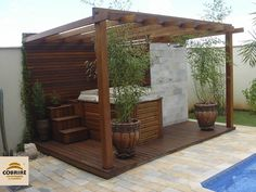 40 Extraordinary Outdoor Jacuzzi Ideas - Spas and Jacuzzis are no longer only found in expensive hotels; more and more people are installing them in their homes as a place to spend family tim. Hot Tub Gazebo, Hot Tub Backyard, Hot Tub Garden, Backyard Shade, Small Backyard Pools, Backyard Patio, Backyard Landscaping, Small Pools, Pool Decks
