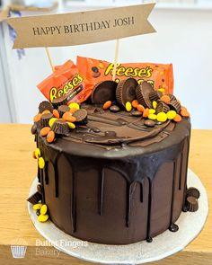 Reese's chocolate overload birthday cake! Reeses Cake, Reeses Pieces Cake, Reese's Chocolate, Chocolate Recipes, Wedding Cakes With Cupcakes, Chocolates, Peanut Butter Recipes, Occasion Cakes, Drip Cakes