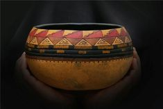Misc. Gallery - Bev's Hand Crafted Gourds - love how the photo was taken with hands holding vessel.