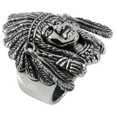 Large Indian Head - Sterling Silver Ring:Amazon:Jewelry