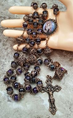 Our Lady of Sorrow   Ornate Filigree Natural Agate   Artisan Handcrafted Catholic Copper Rosary