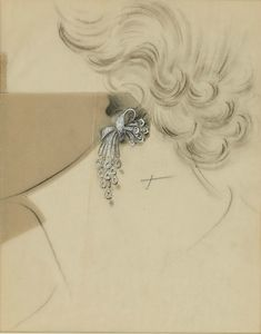 Van Cleef & Arpels. Attributed to René-Sim Lacaze. Study for Ear Pendants, 1935-41. © Sotheby's