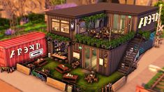 Minecraft Restaurant, Sims 4 Restaurant, Minecraft City, Minecraft Houses, Sims 4 House Design, Tiny House Design, The Sims 4 Lots, Sims 4 House Building, Victorian House Plans