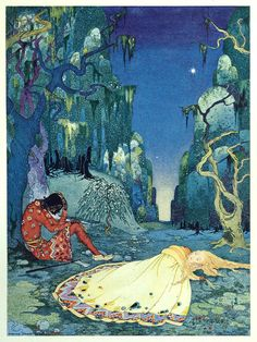 'Violette consented willingly to pass the night in the forest', by Virginia Frances Sterrett (from 'Old French Fairy Tales', by the Comtesse...