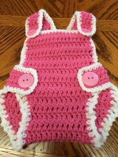 Handmade Crochet Adjustable Diaper Cover Bibs Newborn/Preemie (up to 7 lb) Pink #Handmade #Everyday