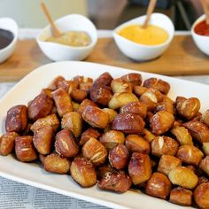 Pretzel bites and dipping sauce -- make these for an Oktoberfest party. Don't forget to wash them down with some beer!