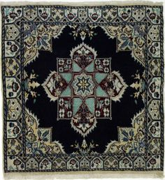 Nain/Esfahan with silk Handgeknüpft 100 x 100 cm ,orientteppich oosters tapijt Bohemian Rug, Cross Stitch, Silk, Rugs, Inspiration, Artists, Home Decor, Home Decor Accessories, Textiles