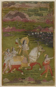 Chand Bibi Hawking with Attendants in a Landscape, ca. 1700; Mughal  India  Opaque watercolors, gold, and silver on card–weight paper; 10 x 6 1/4 in. (25.4 x 15.9 cm)