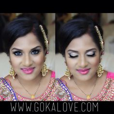 Makeup and hair for Bride's reception in Connecticut! Indian Wedding, Makeup Artist, Hairstylist, Makeup, Hair, Pink, Silver, Gold, Lehnga.