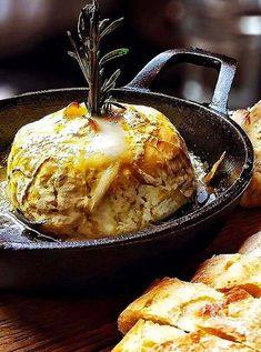 Baked local goat cheese, topped with truffle honey and rosemary, served with crispy baguette at La Creperie du Village in Aspen. Photo courtesy of French Alpine Bistro. Easy Weeknight Dinners, Easy Meals, Make Ahead Brunch, Light Snacks, Dinner Party Recipes, Brunch Wedding, Truffle, Goat Cheese, Soup And Salad