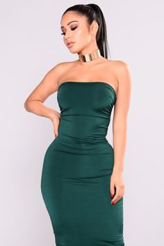 Ruched Me Right Midi Dress - Hunter Green
