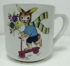Vintage Arabia of Finland Child's Cup Mug Bunny Rabbit on Scooter #Arabia