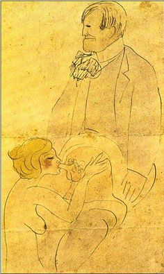 """Pablo Picasso:""""Isidre Nonell avec une femme"""", Barcelona, [January~Late-October]/1902 [~1903].Pen, sepia ink & watercolor on yellowish paper. 24,8 x 16 cm. Museu Picasso, Barcelona."""