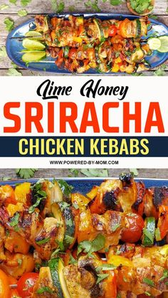 These Lime Honey Sriracha Chicken Skewers are a delicious spicy and sweet take on a classic grilled chicken kebabs. Chicken Appetizers, Chicken Skewers, Chicken Recipes, Easy One Pot Pasta Recipe, Honey Sriracha Chicken, Chicken And Vegetables, Vegetable Recipes, Dinner Recipes, Cooking