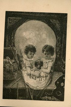 """Happy Hours"". This weird, skull image formed by 2 little girls appeared in a publication called Happy Hours, priced 5 cents, but distributed free to buyers of ""Magic Yeast Cakes"", manufactured by E. W. Gillett of Chicago, and ""for sale by all grocers.""  Happy Hours was but one of several such small magazines for kids then. Via Ephemera Studies."