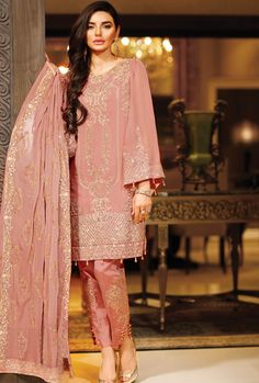 Pink+Luxury+Chiffon+Embroidered+Dress
