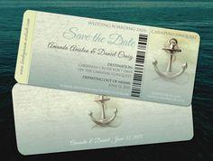 Save the Date Destination Cruise Wedding // Aqua Teal Travel  Wedding // Vintage Retro Anchors Away