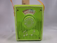 Fisher Price Radio Vintage 1970 Lime Green Happy Birthday Wind Up Toy . epsteam