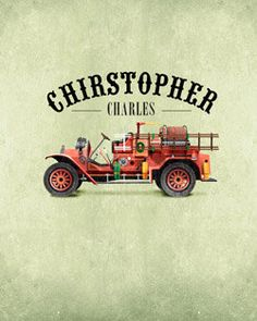 Personalized with Name 8x10 Vintage Style Red Fire Truck Room Wall Art Print by Caramel Expressions   Daintzy - Children