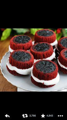 Red Velvet Oreo Cupcakes.