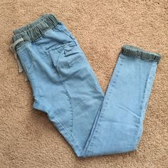 Light Blue Jogger Jeans These jeans have an elastic waist. It was bought from Aliexpress, but fit too small. Should fit as a Small or Medium. Jeans Skinny