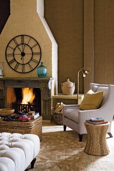 The Slow Lane | House and Leisure - love the clock above the fireplace