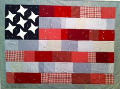 All-American Flag Quilt - men's shirt version, by Alethea Ballard; Color Patterns, Quilt Patterns, American Flag Quilt, Patriotic Quilts, Quilt Of Valor, Blue Quilts, Quilt Bedding, Quilt Making, Quilt Blocks