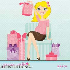 Baby Shower Woman Character Illustration by JWIllustrations, $5.00