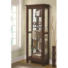 Coaster Curio Cabinets 5 Shelf Curio Cabinet with Mirrored Back & Can Lighting - Coaster Fine Furniture