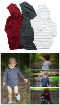 Hoodie Onesies!! So cute for fall baby boy clothes #babyboyfalloutfits