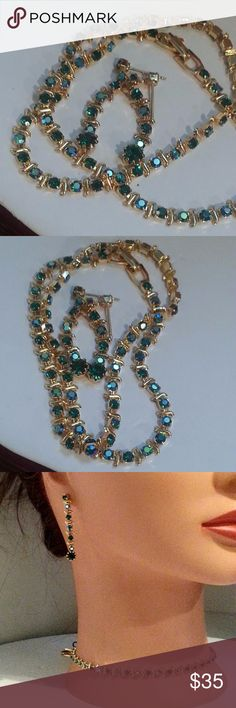"Blue green AB rhinestones necklace earring NYE NWT Simple and elegant, perfect for New Years Eve!! Blue green rhinestones with AB treatment (iridescent) set in goldtone ""tennis"" or line style. The earrings end in a pear shape drop.  Earrings are 1.5"" necklace is 15.5""   Genuine Austrian Crystal!!   Still time to have shipped for New Years!!!! Order now!!  New on card from mfgr, never sent to retail so no actual price tag Austrian Crystal Jewelry Necklaces"