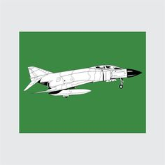 Jet Art Print, 8x10 PRINTABLE, F-4 Phantom, Instant Download, Digital