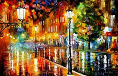 """Street Of Illusions — PALETTE KNIFE Cityscape Modern Wall Art Deco Oil Painting On Canvas By Leonid Afremov - Size: 36"""" x 24""""(90 cm x 60 cm)"""